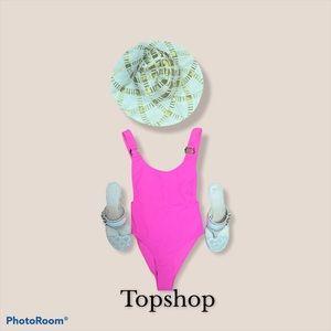 Topshop neon pink one piece swim wear